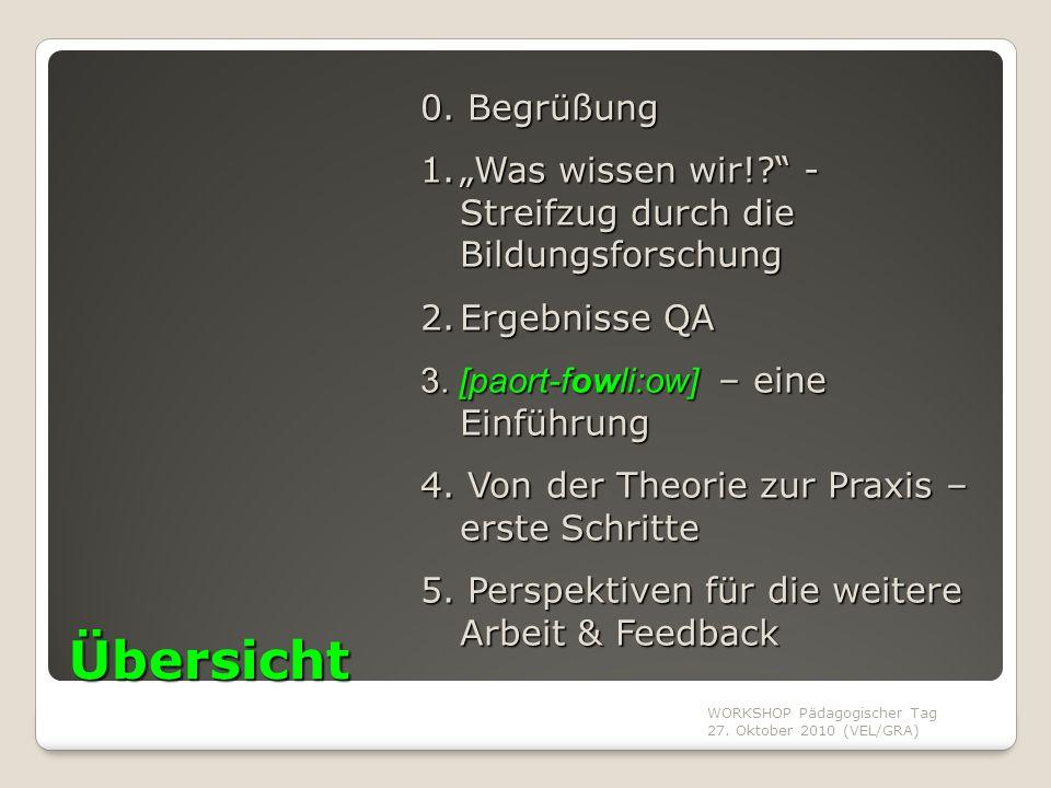 """0. Begrüßung """"Was wissen wir! - Streifzug durch die Bildungsforschung. Ergebnisse QA. 3. [paort-fowli:ow] – eine Einführung."""